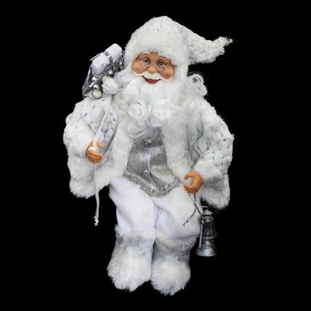 sitting santa - white holding lantern - 55cm