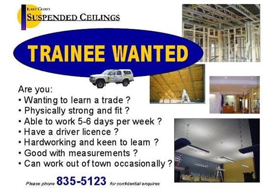 Situations vacant ceiling fixer employment apprenticeship