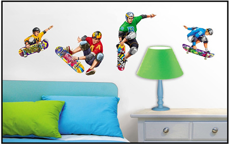 Skateboarders in colour Wall Decal
