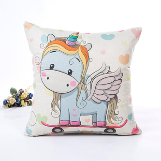 Skateboarding Unicorn Cushion Cover