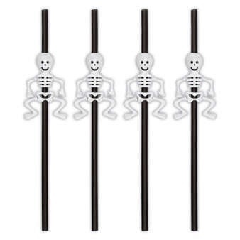 Skeleton Straws x 6 pack
