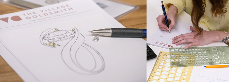Sketching custom jewellery designs The Village Goldsmith