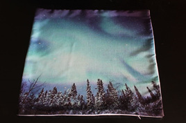 Skies over Snow Capped Trees Cushion cover
