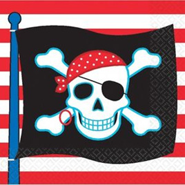 Skull and Crossbone Flag Napkins x 16