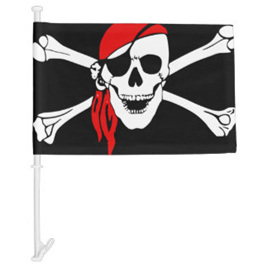 Skull and Crossbones Car Flag