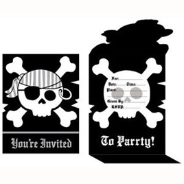 Skull and Crossbones Party Invites x 8