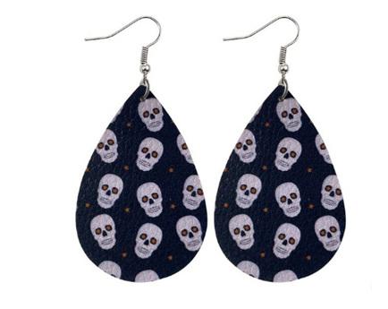 Skull Faux Leather Earrings