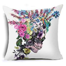 SKULL FLORAL HEADPIECE CUSHION COVER