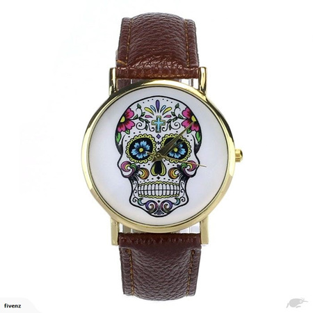 SKULL LADIES WATCH - COFFEE