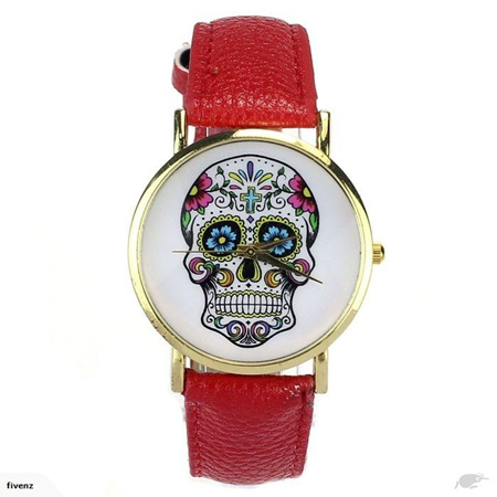 SKULL LADIES WATCH - RED
