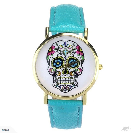 SKULL LADIES WATCH - TURQUOISE