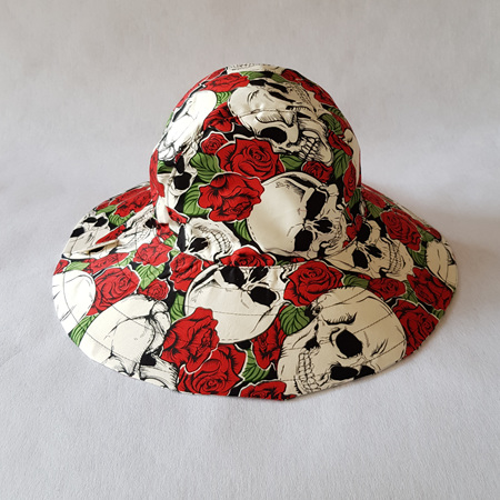 Skull Red Roses Sombrero Hat - Adult size large