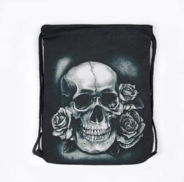 Skull & Roses Black Polyester Bag
