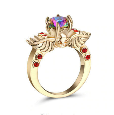 SKULL, WINGS & RAINBOW WITH GOLD BAND RING - US8 (B192)