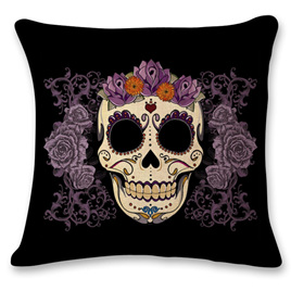 Skull with Purple Roses Cushion Cover