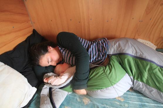 sleeping baby hiking camping