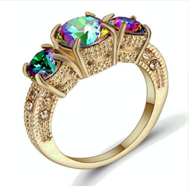 Slim Rainbow Gemstone Gold Band Ring - US8 (B334)