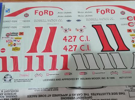 Slixx #11 Mario Andretti Holman Moody Ford Decals (SLX6711/1141)