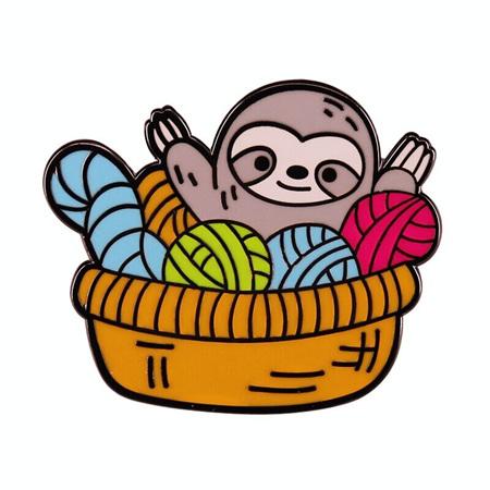 Sloth in Wool Basekt Enamel Pin