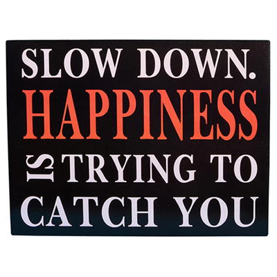 """""""Slow Down. Happiness is Trying To Catch You"""" Tin Sign"""