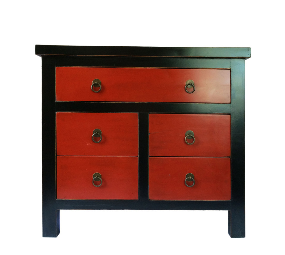 Small Cabinet With 5 Drawers Lotus Antiques