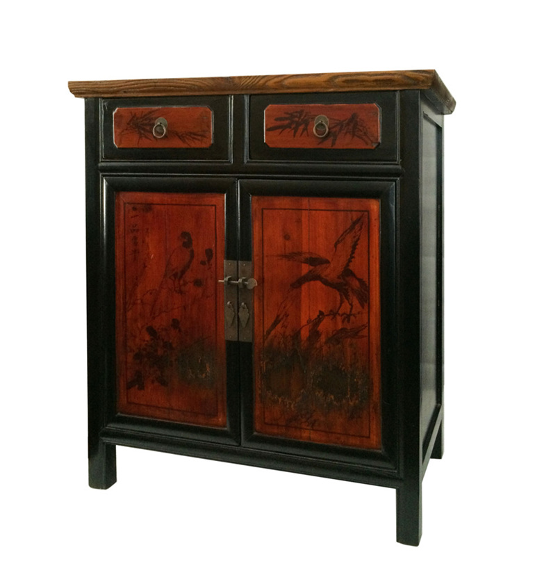 Small Cabinet With Painting Lotus Antiques