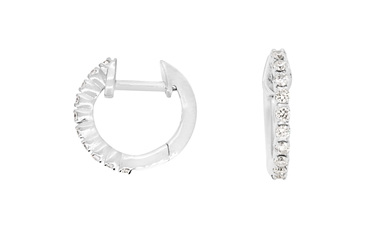 Small Claw Set Diamond Hoop Earrings