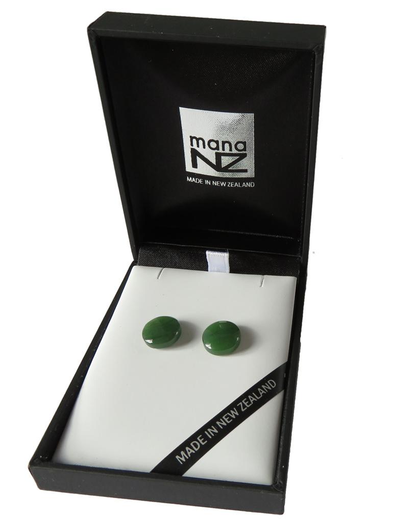 Small New Zealand greenstone or pounamu stud earrings