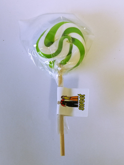 SMALL POP, GREEN AND WHITE, CHERRY FLAVOUR, 5CM