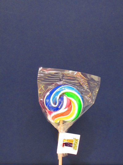 SMALL POP, WHITE & RAINBOW STRIPE, COLA  FLAVOUR, 5cm.