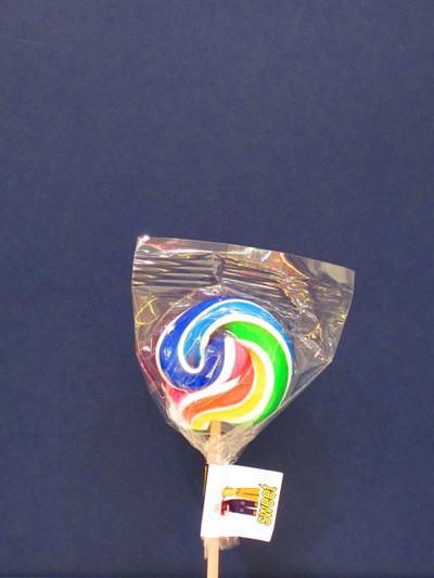 SMALL POP, WHITE & RAINBOW STRIPE, LEMON  FLAVOUR, 5cm.
