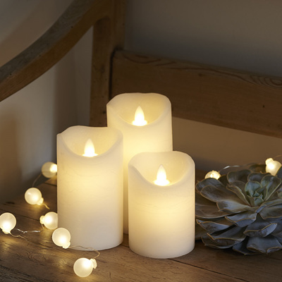 Small Real Wax LED Candles - Pack of 3
