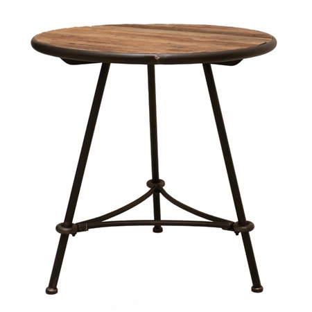 Small recycled pine and metal industrial side table