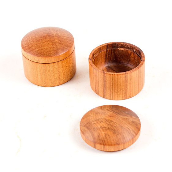 small round boxes - made from rimu and kauri - made in new zealand