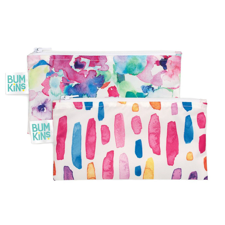 Small snack bag, reusable and machine washable. water colour design