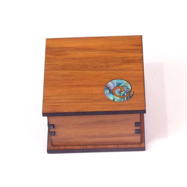 small square trinket box with paua koru