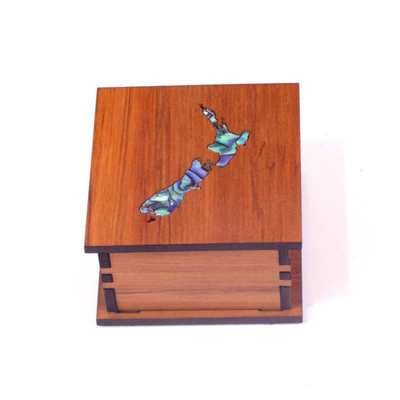 small square trinket box with paua map