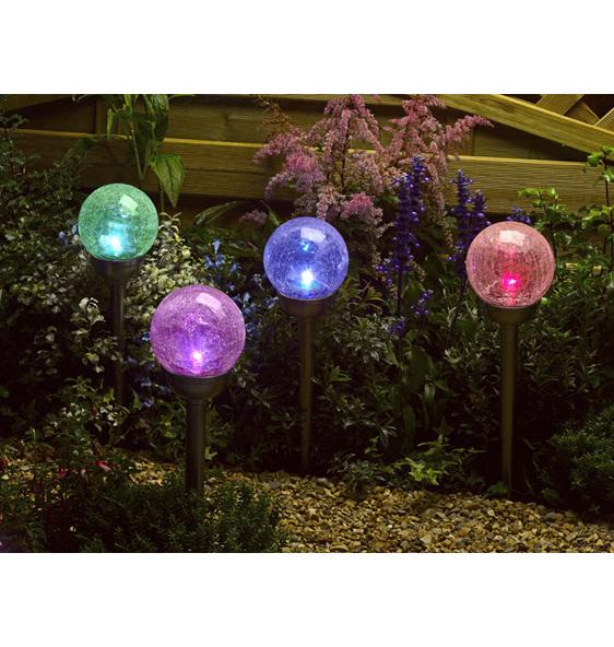 Garden Globe Lights Solar : Crackle ball solar stake lights are a contemporary