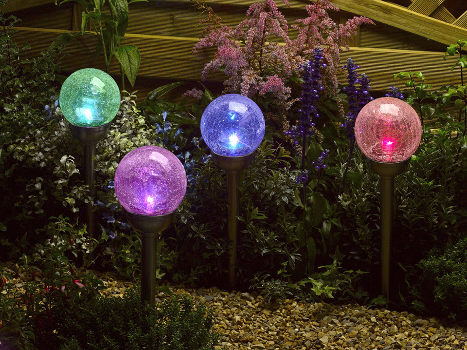 Smart Garden Solar Crackle Globe Stake Lights, Colour Changing, 4 Pack - Party Lights Company
