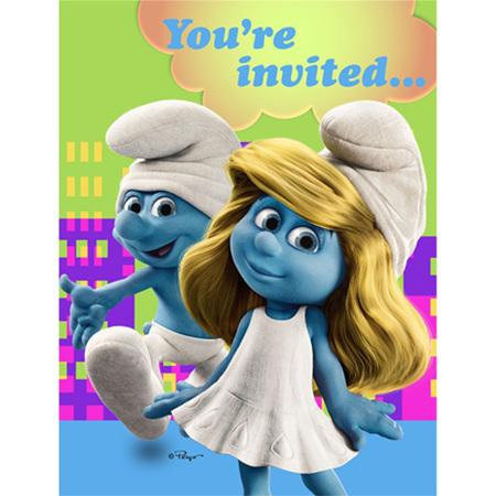 Smurfs - party invites x 8
