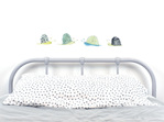 Snail wall decals in line with bed