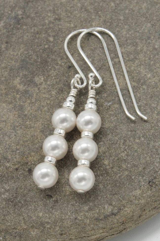 'Snow' earrings - Three stacked 6mm Swarovski Crystal Pearl in white