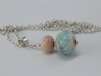 'Snowman' Pendant - pink/Turquoise