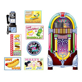 Soda shop signs & jukebox props