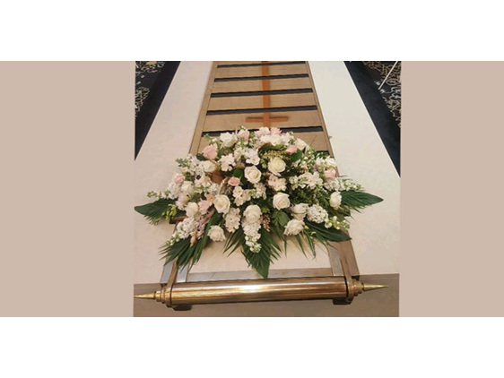 Soft creams casket spray designed by Flowerise Royal Oak Mall Florist