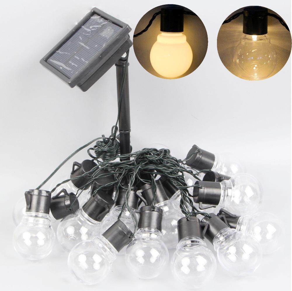 Warm White Solar Garden Fairy Lights: 5m 30LEDs Solar Festoon Globe Ball String Fairy Lights