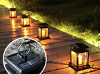 Solar Mini Lantern Hanging with Flickering LED Candle - Warm White