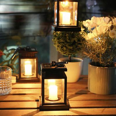 Solar Mini Lantern Hanging with Flickering LED Candle - Warm White