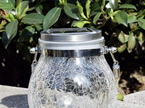 Solar Outdoor Waterproof Crackle Glass Lantern Table Lamp Hanging Lights - Multicolour