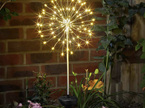 Solar Starburst Silver Wire Lights with a Stand 120 LED 50cm Diameter - Warm White